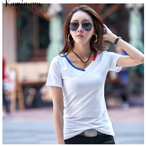 卡茗语 宽松短袖t恤女夏季新款大码女装纯棉显瘦体恤女士上衣