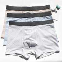 3条装夏天文艺青年格子日系潮薄男士内裤男平角中腰裤衩 蓝 咖啡 灰