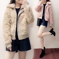 卡茗语毛呢外套女秋冬2017新款韩版宽松短款羊羔毛小个子呢子夹克棒球服