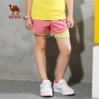小骆驼童装 年春夏季薄款女童速干短裤儿童两件套运动沙滩裤