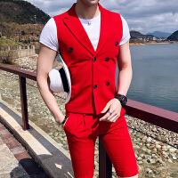 2018男士修身夏款个性西装男士夜店韩版发型师气质坎肩小马甲套装