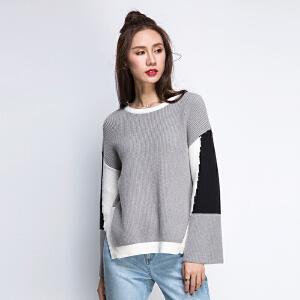 韩版宽松冬圆领不规则拼接拼色长袖下摆开叉短款喇叭袖套头毛衣女