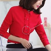 红色衬衫女长袖秋冬韩版2019正装职业修身显瘦打底气质衬衣女