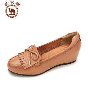 骆驼牌女鞋 秋冬新品 休闲单鞋女士舒适浅口圆头套脚鞋