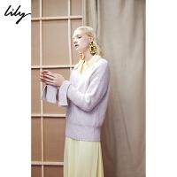 【特惠秒杀价206元】全场叠加100元券 Lily春新款女装时髦纯色V领宽松毛衣毛针织衫118420B8733