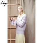Lily春新款女装时髦纯色V领宽松毛衣毛针织衫118420B8733