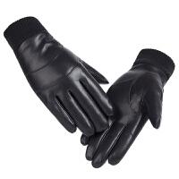 皮手套男秋冬保暖pu皮全指手套加厚加绒防寒防风户外骑行触屏手套