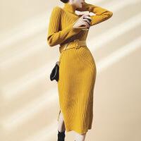 黑色打底裙女中长款内搭针织2018冬连衣裙修身过膝长袖毛衣包臂裙