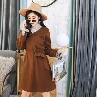 七格格V领连衣裙女新款冬季韩版宽松长袖显瘦气质休闲裙子潮