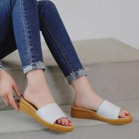 夏季新款孕妇一字拖真皮凉拖鞋室外平跟时尚外穿平底凉鞋女鞋