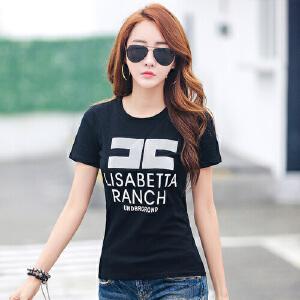 2017夏装新款印花短袖t恤韩版修身学生女士上衣夏季纯棉显瘦体恤WK0631