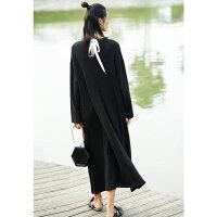 【AMII大牌日 2件4折】东方极简设计师品牌2018春装新款宽松黑色小香风大码连衣裙子女