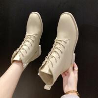 靴子女2019秋款韩版粗跟低跟马丁靴女时尚英伦复古短靴女春秋单靴