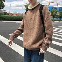 2019秋冬季刺绣毛织衫卷边套头圆领毛衣港风个性潮流针织衫 2X