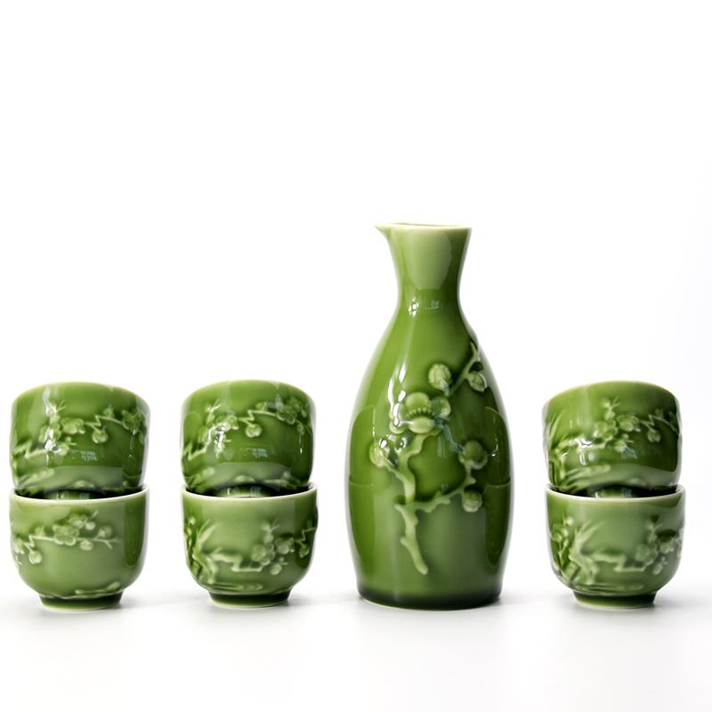 乾唐轩活瓷酒具梅花酒器1壶6杯陶瓷白黄清酒陶瓷温酒具杯器壶套装
