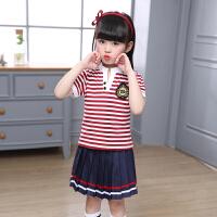 小学生校服夏短袖红条纹套装纯棉儿童裤裙幼儿园园服班服装男女童 红色 条纹女童