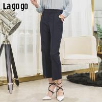 【新品5折价125】Lagogo/拉谷谷2019夏季新款裤脚开衩纯色简约裤子女IAKK433C62