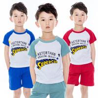 2017新款夏装短袖童装休闲T恤男童两件儿童套装中大童小孩夏季衣服短裤