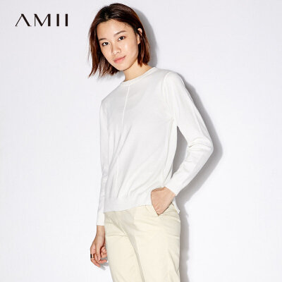 Amii[极简主义]套头毛衣女2017秋装新款大码休闲圆领纯色开衩上衣