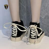马丁靴女士高帮帆布鞋女山本风运动板鞋韩版原宿百搭休闲大头皮鞋 黑色