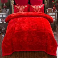 毛毯被子加厚冬季保暖拉舍尔婚庆毛毯结婚双人大红色毯子 喜结连理大红色 10斤 240cmx200cm【一等品 已质检】
