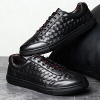 夏季商务男鞋休闲皮鞋个性编织好搭配透气英伦大码板鞋45码46码47 黑色