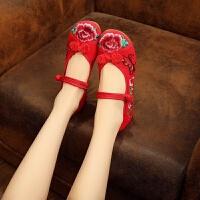 汉服鞋女中式圆头坡跟民族风绣花鞋单鞋大码刺绣老北京布鞋舞蹈鞋