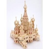 儿童益智玩具建筑模型 木质3d立体成人拼图 木制积木大型拼装城堡