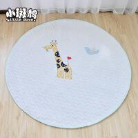 维莱 儿童帐篷配套婴乐绒地垫 绗缝绣花垫子宝宝爬行垫防滑地毯 白底长颈鹿