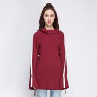 堆堆领系带喇叭袖毛衣女套头中长款宽松撞色条纹秋冬款打底针织衫