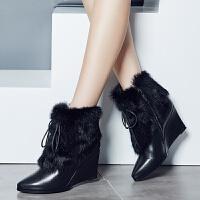 娜箐箐秋冬欧美牛皮新款尖头坡跟兔毛牛皮短靴女磨砂真皮保暖女靴