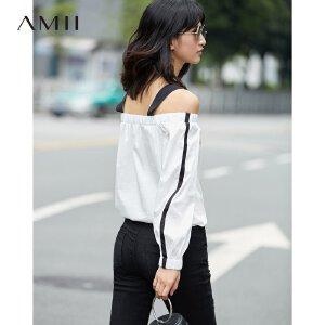 Amii极简chic港味复古心机衬衫女2018秋新一字领露肩时尚长袖上衣