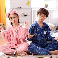 儿童睡衣男童秋冬季珊瑚绒中大女童小孩家居服宝宝套装