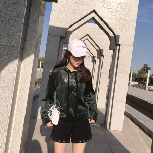 谜秀连帽卫衣女2017秋装新款韩版学生宽松丝绒上衣短款外套女装潮