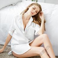 性感睡衣女衬衫睡裙女长款白衬衫男友风可外穿春秋开衫薄款家居服睡裙