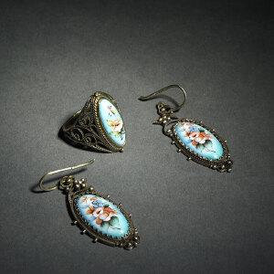 银胎画珐琅戒指、耳环一套