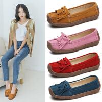 流行夏季女鞋大码反绒皮蜗牛鞋真皮流苏女鞋网红鞋时尚百搭休闲