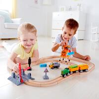Hape儿童模型玩具火车轨道起重机套3岁+