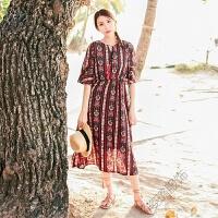 夏季波西米亚沙滩裙2018雪纺度假连衣裙中长民族裙 酒红色