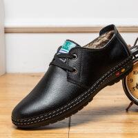 冬季皮鞋男 保暖加绒系带男鞋新款加厚休闲鞋子男休闲棉鞋棉皮鞋