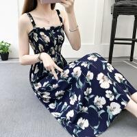 2019韩版显瘦小清新吊带裹胸碎花雪纺连衣裙女夏度假沙滩裙子