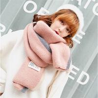 毛线围巾女冬季韩版百搭加厚长款学生保暖仿羊绒针织围脖春秋冬天