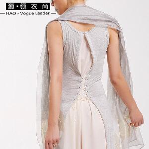 春夏新款拼色绑带淑女长裙莫代尔飘逸显瘦波西米亚背心无袖连衣裙