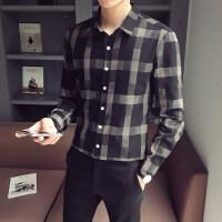秋季格子衬衫男长袖韩版青年潮流衬衣男休闲帅气百搭修身男士寸衫