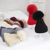 儿童帽子秋冬季毛球男童女童毛线针织帽宝宝保暖