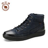 骆驼牌 男靴秋冬季高帮休闲男鞋马丁靴男士短筒加绒保暖短靴子