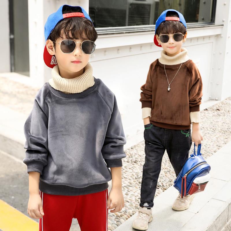 童装男童卫衣套头冬装儿童上衣高领打底衫潮