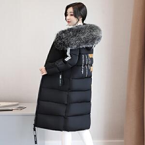 纤纯伊冬装新款棉衣女中长款胖mm200斤加厚棉服特大码保暖外套冬