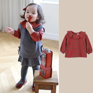 秋季长袖小童女衬衫荷叶领红色格子衬衣小童衬衫公主童衫