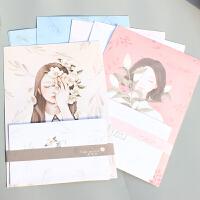 花与爱丽丝 信纸 套装横条小清新 24信纸+12信封(花与爱丽丝)